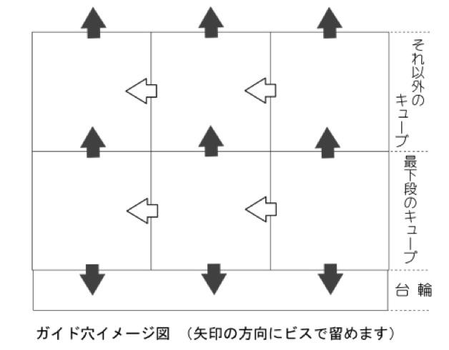 ガイド穴イメージ図(矢印の方向でビスを留めます)